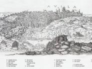 Dibujo de Antón Wyngaerde, 1570. Reproducido en Cátedra, M. y De Tapia, S. (2007): Para entender las murallas de Ávila. Una mirada desde la historia y la antropología. Ed. AMBITO. Ayuntamiento de Ávila, Valladolid.