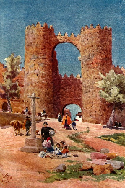 """Puerta de Ávila"" (1910). W. W. Collins. Acuarela. Ilustración del libro Catedral Cities of Spain, Collins, 1911."